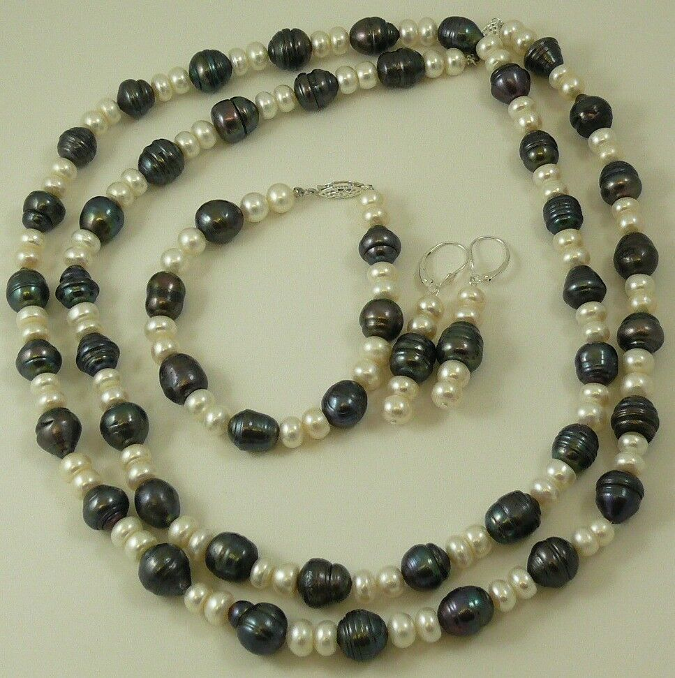 Pearl Necklace Clasp: Freshwater Black & White Pearl Necklace, Bracelet And
