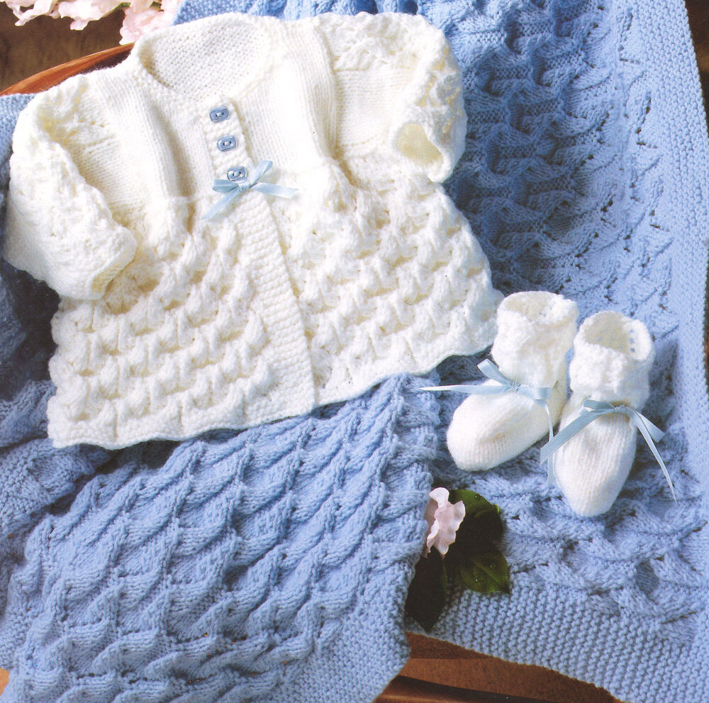 Free Knitting Patterns For Baby Shawls In Dk : Baby Matinee Coat Shawl & Bootees DK 14 - 20