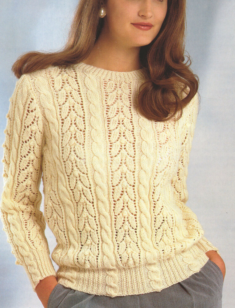 Lace Cardigan Knitting Pattern : Lace & Cable Sweater DK Wool ~ 30