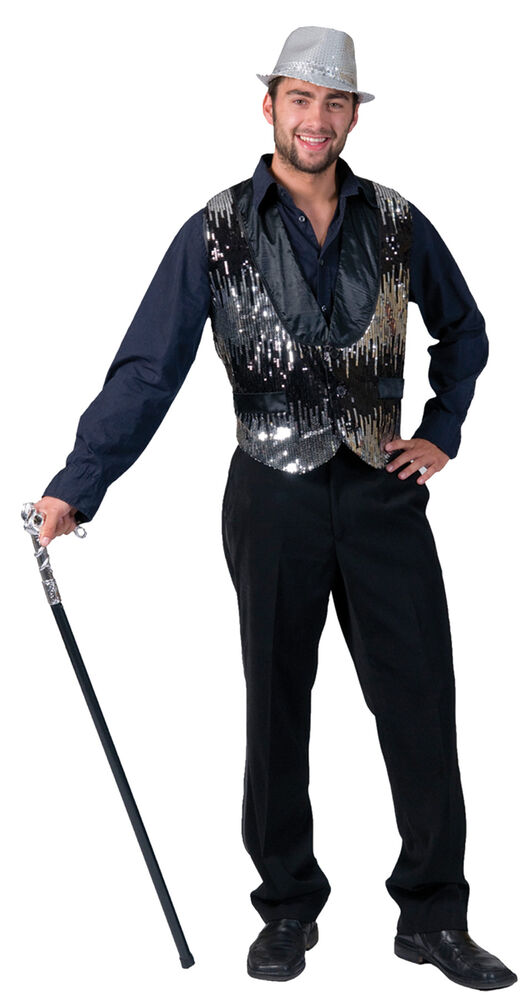 3485d353a Details about All That Jazz Silver Adult Vest Costume Disco 50s Glitter  Performer Halloween