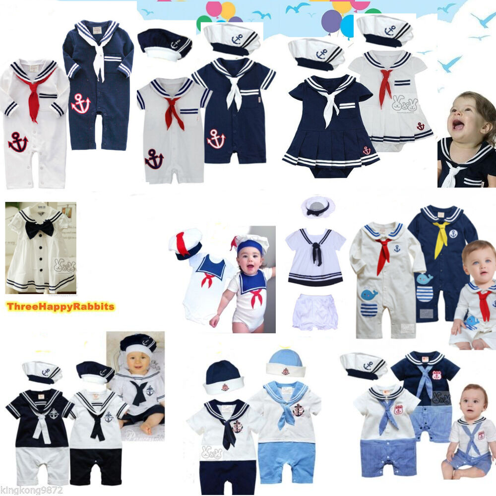 Baby Boy Girl Sailor Outfit Navy Captain Costume Romper ...