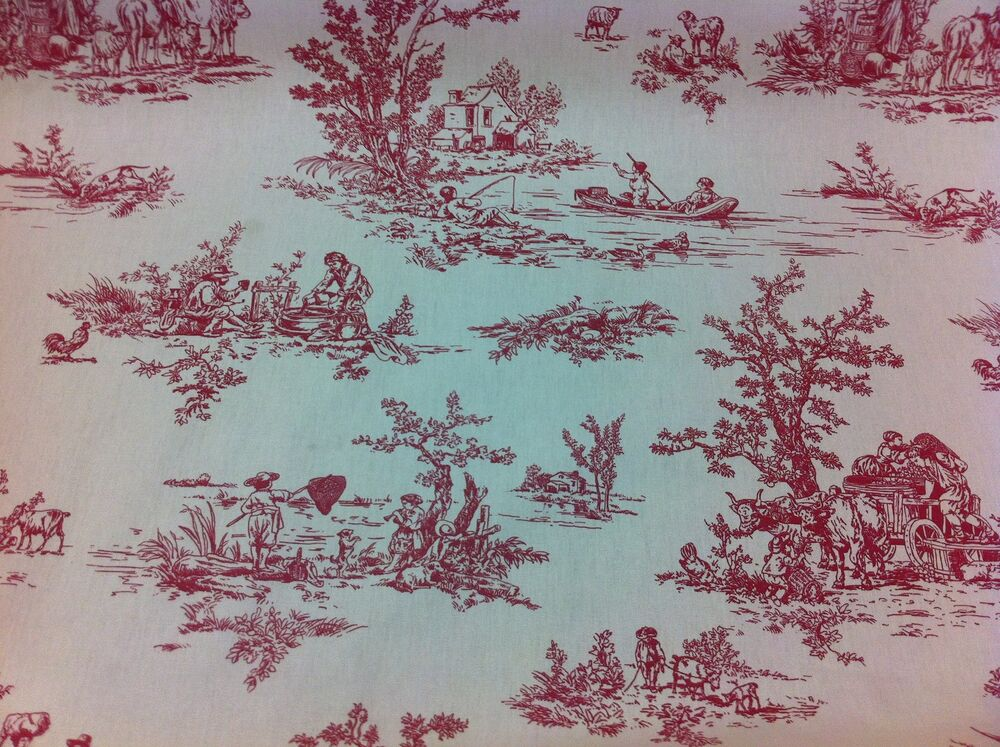 Fryett s provence toile de jouy rosso cotton fabric for Toile shabby chic