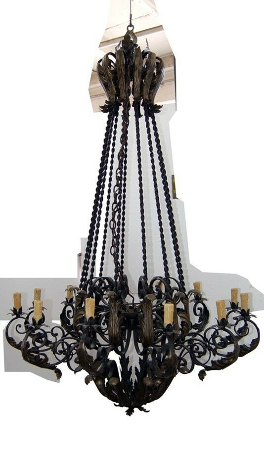 Wrought iron mediterranean chandelier c 1930 7683 ebay for Mediterranean lighting fixtures