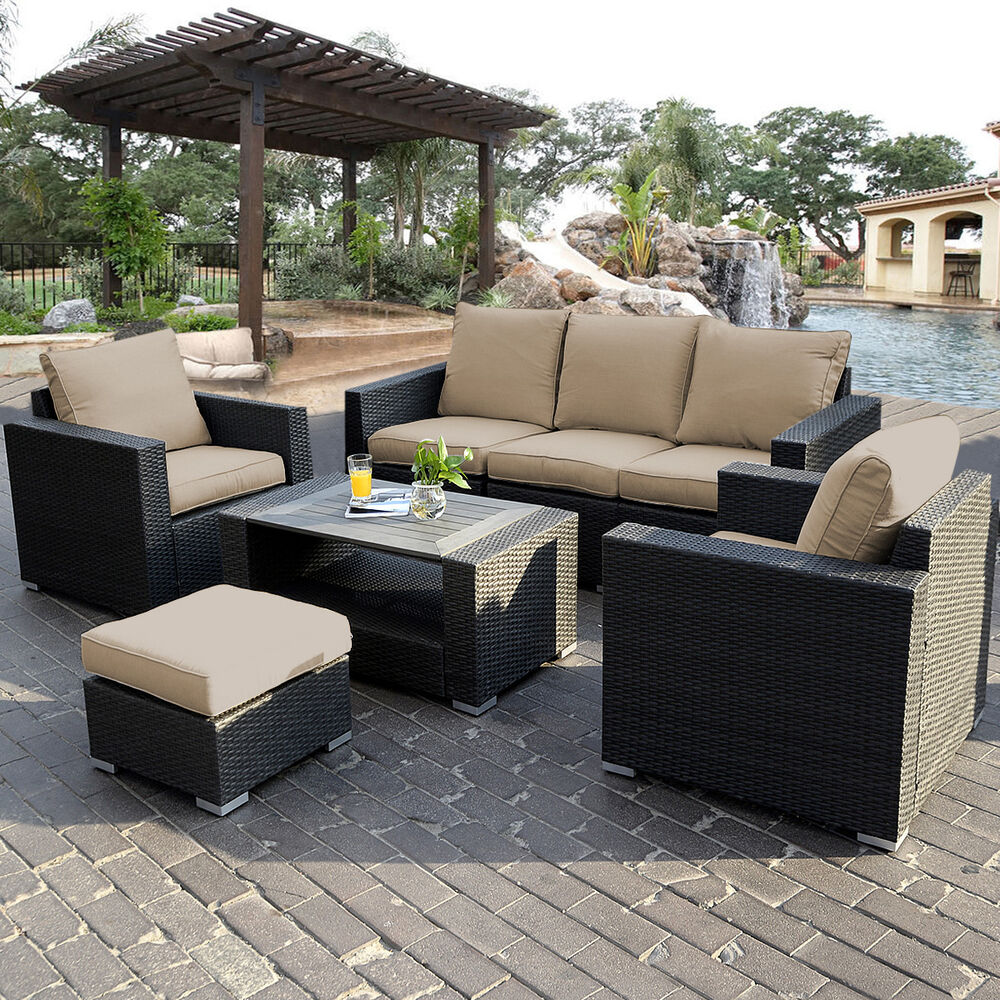 7pc outdoor patio patio sectional furniture pe wicker for Outdoor patio couch set