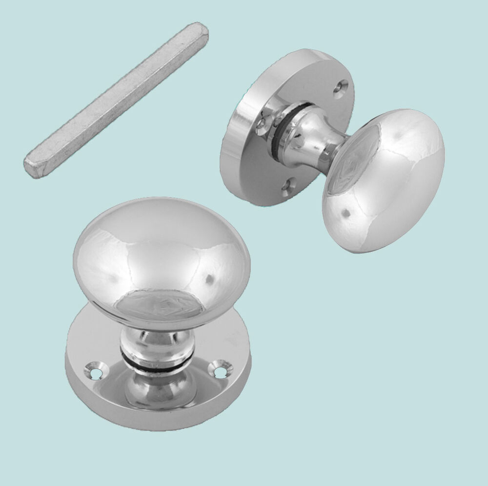 Polished chrome round interior victorian style mortice for Door knobs ebay