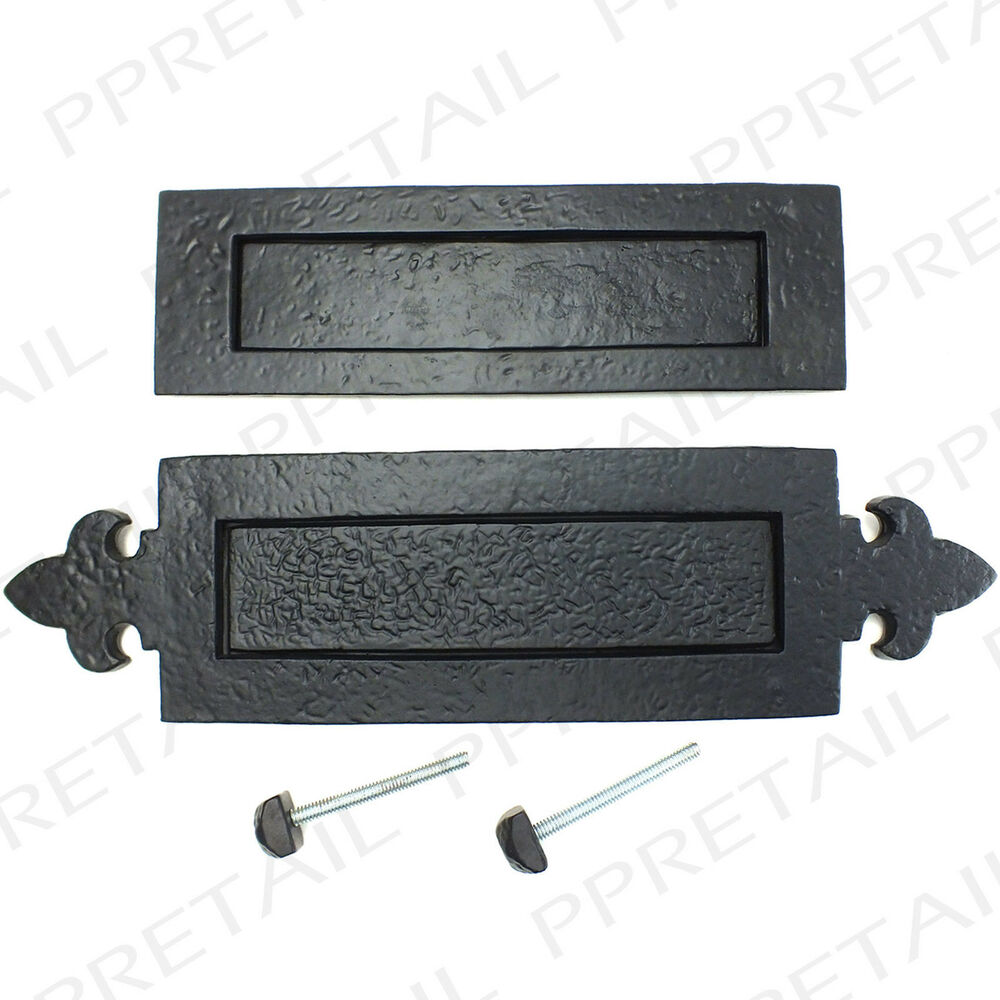 Front Door Letterbox: BLACK ANTIQUE LETTER BOX PLATES 2 DESIGNS Classic Front