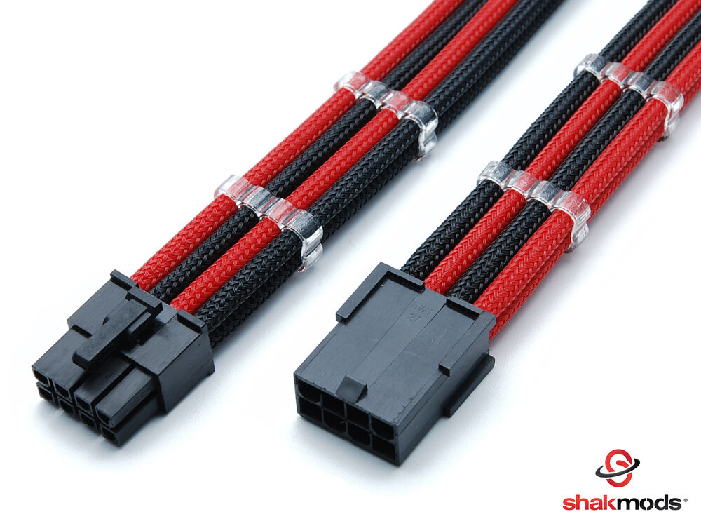 8pin Pcie Gpu 45cm Black Red Sleeved Extension Cable With