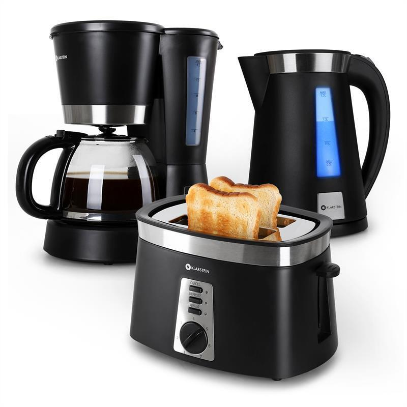 Morning breakfast kitchen set bundle black toaster kettle for Kitchen set kettle toaster microwave