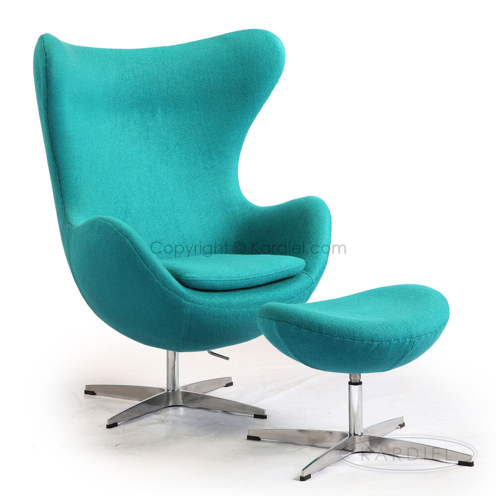 Egg chair ottoman turquoise swan contemporary lounge for Chaise and ottoman