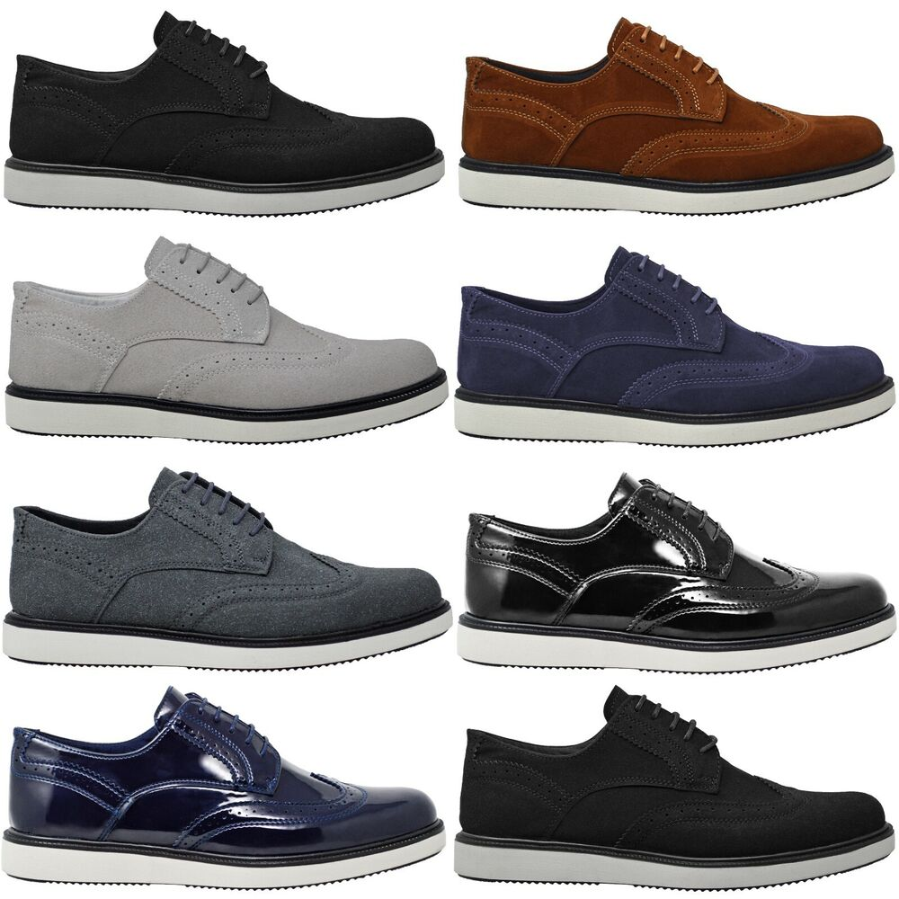 mens new casual black leather smart formal lace up shoes