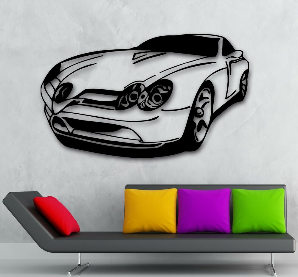 Wall stickers vinyl decal muscle car excellent garage for Cars wall mural sticker