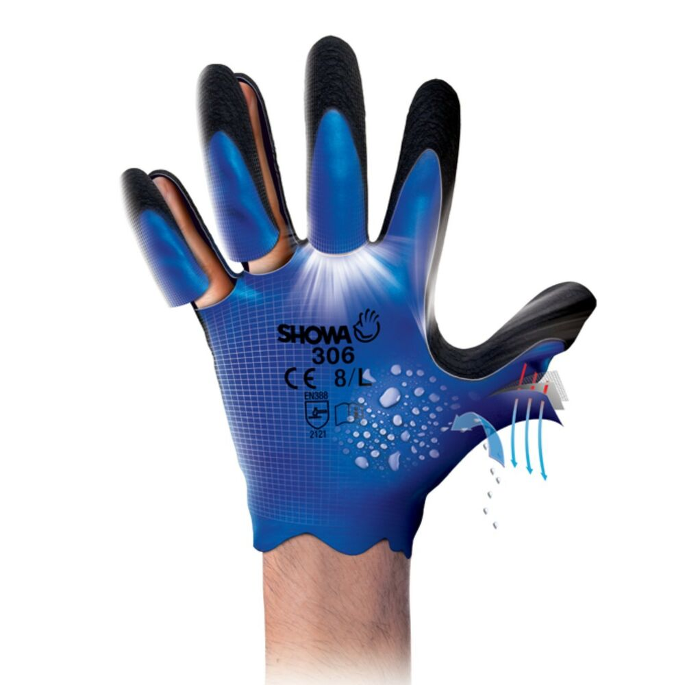 Leather work gloves ebay - Showa 306 Fully Coated Latex Grip Waterproof Breathable Work Gloves New