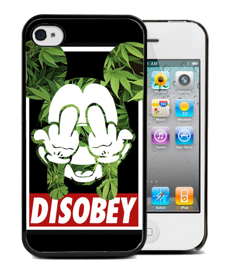 Coque iphone 4 4s 5 5s 5c mickey weed cannabis tui housse for Housse iphone 5c