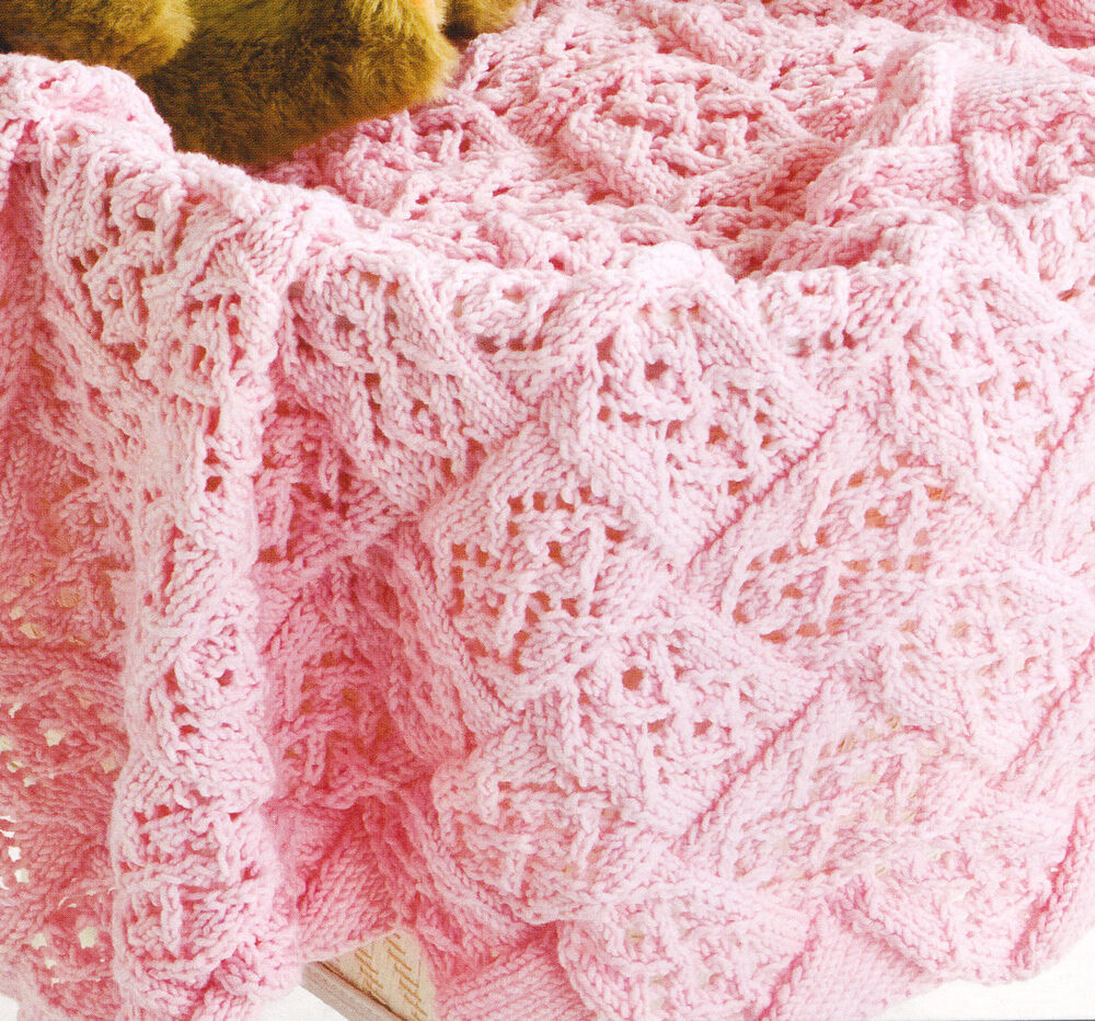 Lace Stitch Entrelac Baby Blanket ~ DK Knitting Pattern ~ 26