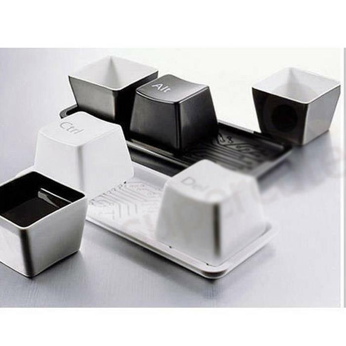 3pcs set creative simple keyboard ctrl alt del type tea