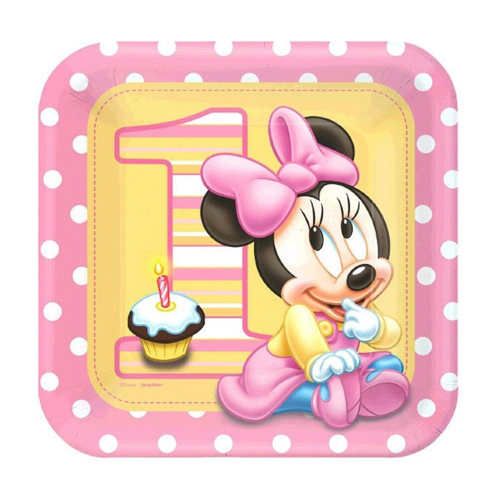 Minnie Mouse 1st Birthday: 8 Disney Baby Minnie Mouse 1st Birthday Party 9in Square