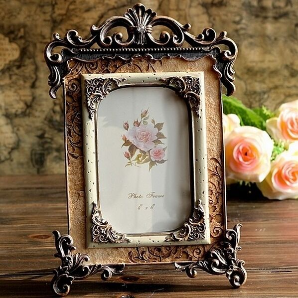 Retro vintage brown home decor picture frame photo frame resin 4 39 39 6 39 39 ebay Home decoration photo frames