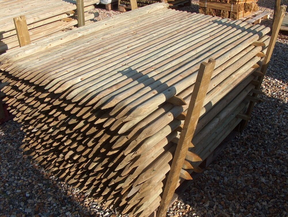 M ft mm diam round wooden fence posts