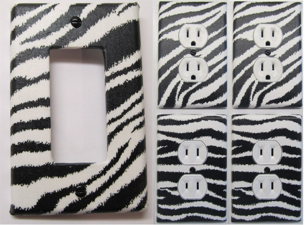 ZEBRA PRINT LIGHT SWITCH OUTLET WALL PLATE COVERS CUSTOM