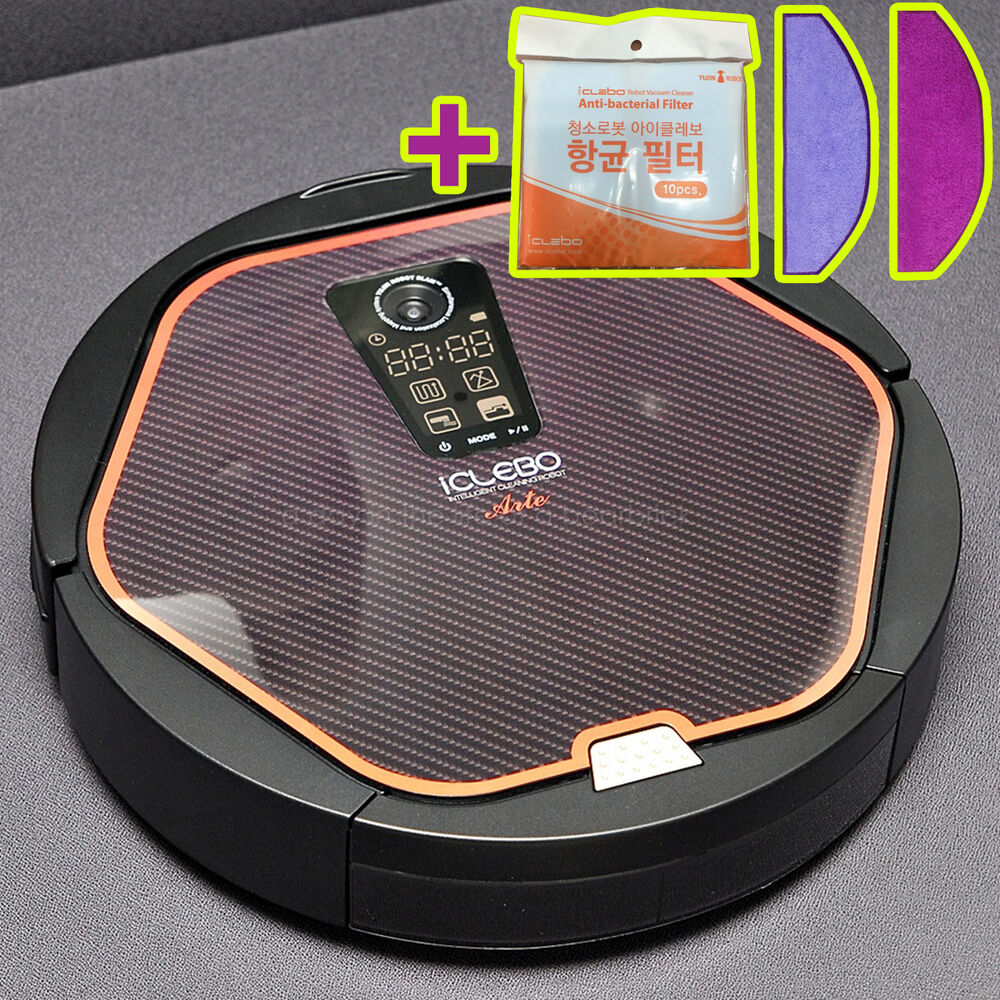 iclebo arte ycr m05 10 robot vacuum cleaner modern black new catch mop x2 853251005016 ebay. Black Bedroom Furniture Sets. Home Design Ideas