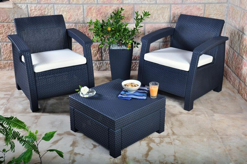 keter corfu 2 seater balcony set plastic rattan garden. Black Bedroom Furniture Sets. Home Design Ideas