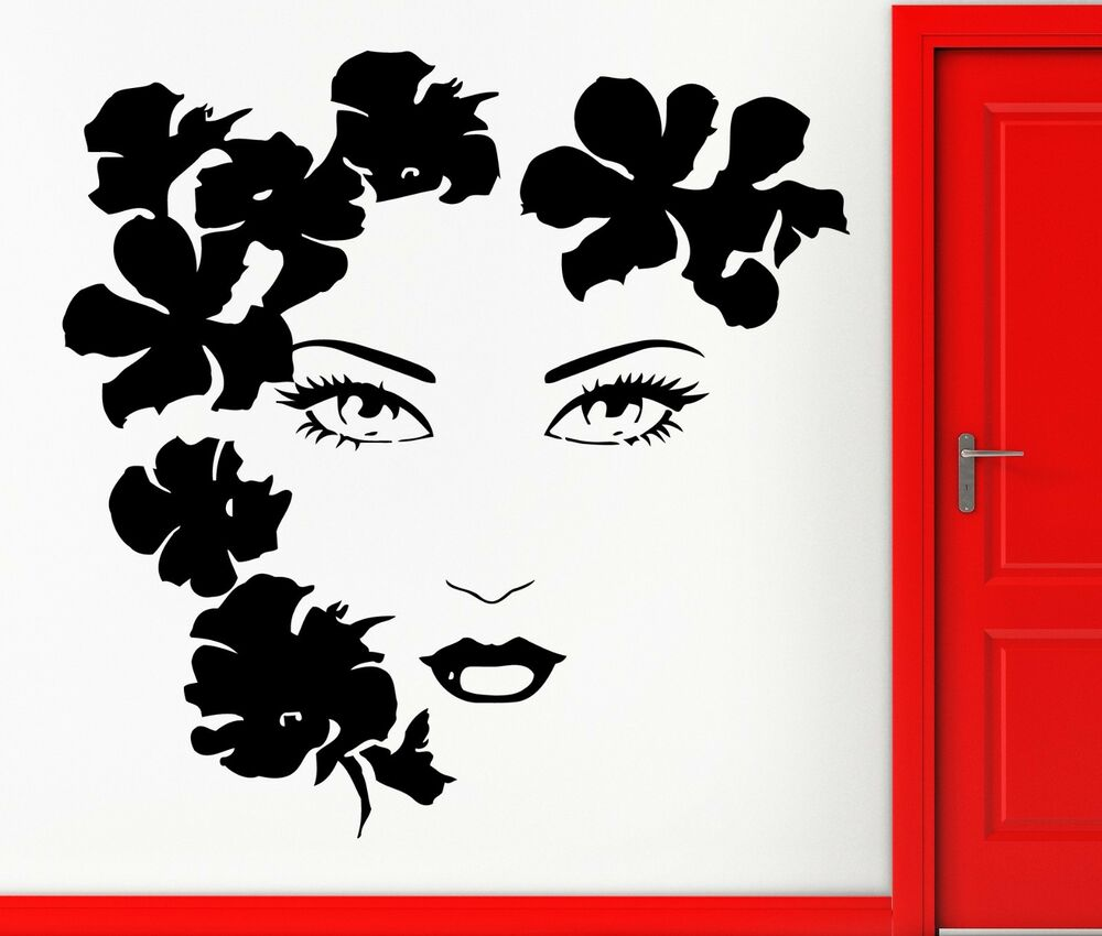 Sexy girl face flowers beauty tv music wall art movies for Wall art decals