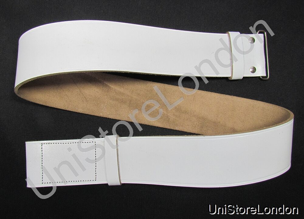 belt white 57mm wide with 2 loops velcro on one end chrome