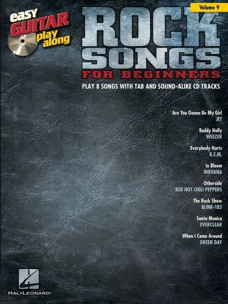 rock songs for beginners easy guitar play along book and cd new 000103255 ebay. Black Bedroom Furniture Sets. Home Design Ideas