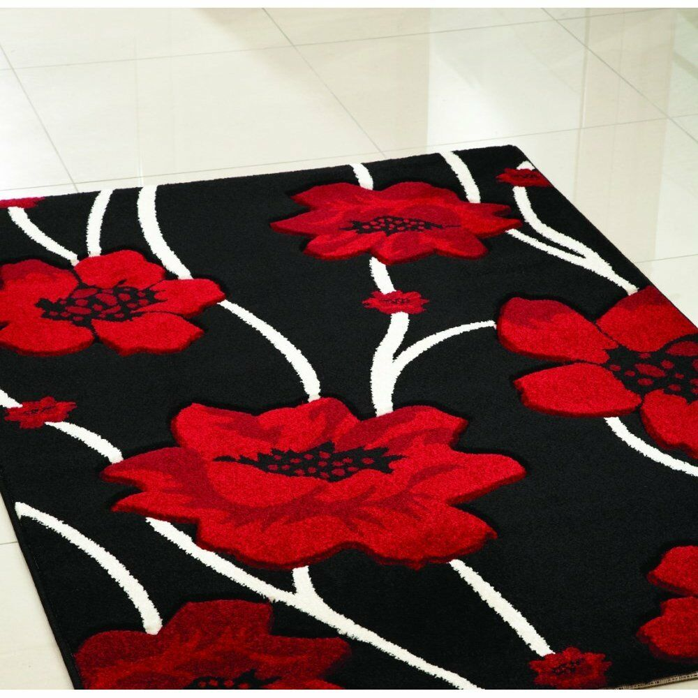 New Modern Xlarge Size Small Floral Quality Soft Red Rug