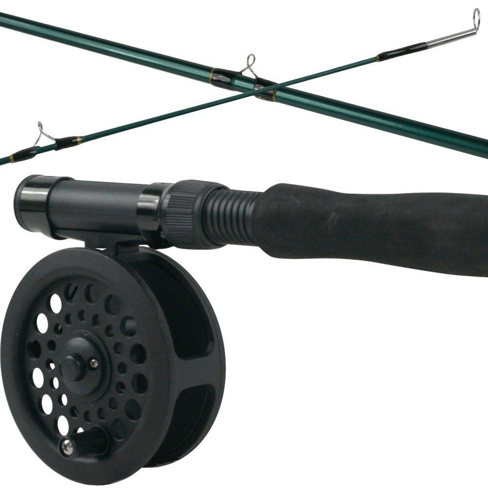 Fly fishing combo kit 8 foot 3 piece fly rod reel line for Trout fishing rod and reel