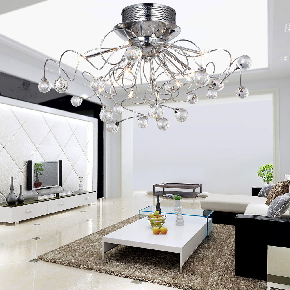 Modern flush mount lights dining room bedroom crystal for Modern living room ceiling lights