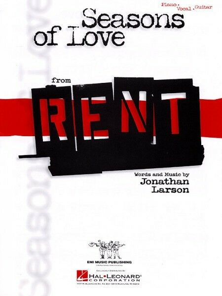 Seasons of Love from Rent Sheet Music Piano Vocal NEW Jonathan Larson ...