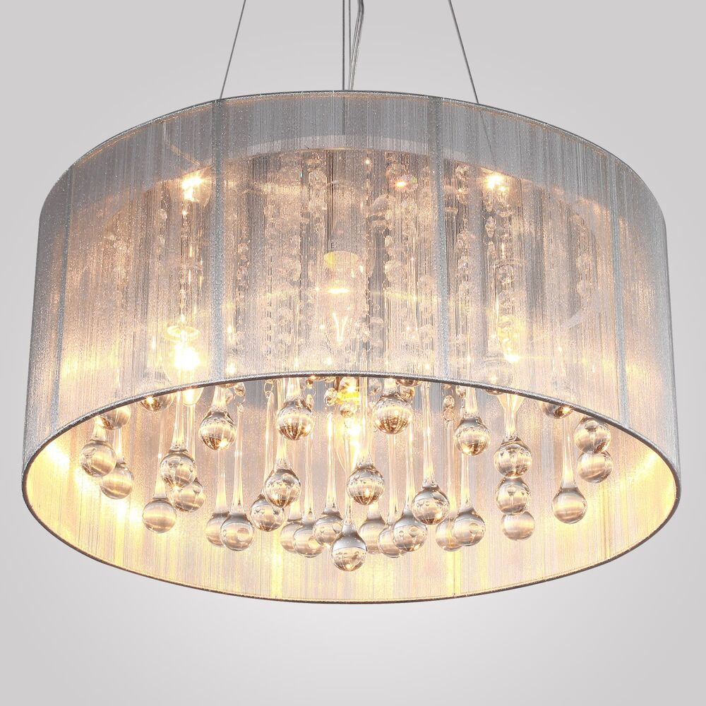 New modern drum shade crystal ceiling chandelier pendant light fixture lighting ebay - Ceiling lights and chandeliers ...