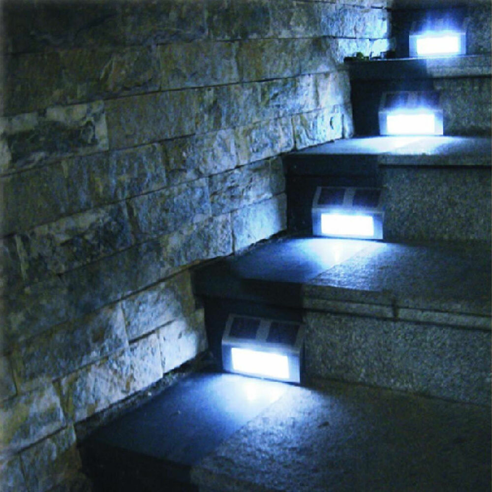 SOLAR POWER LED LIGHT PATH DECKING STAIR WALL MOUNTED FENCE STEP GARDEN LAMP eBay