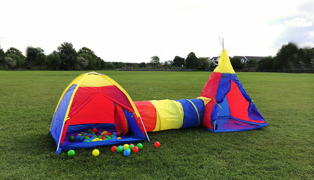 KIDS 3 IN 1 TENT & TUNNEL & TEEPEE SET CHILDREN PLAY BALL ...