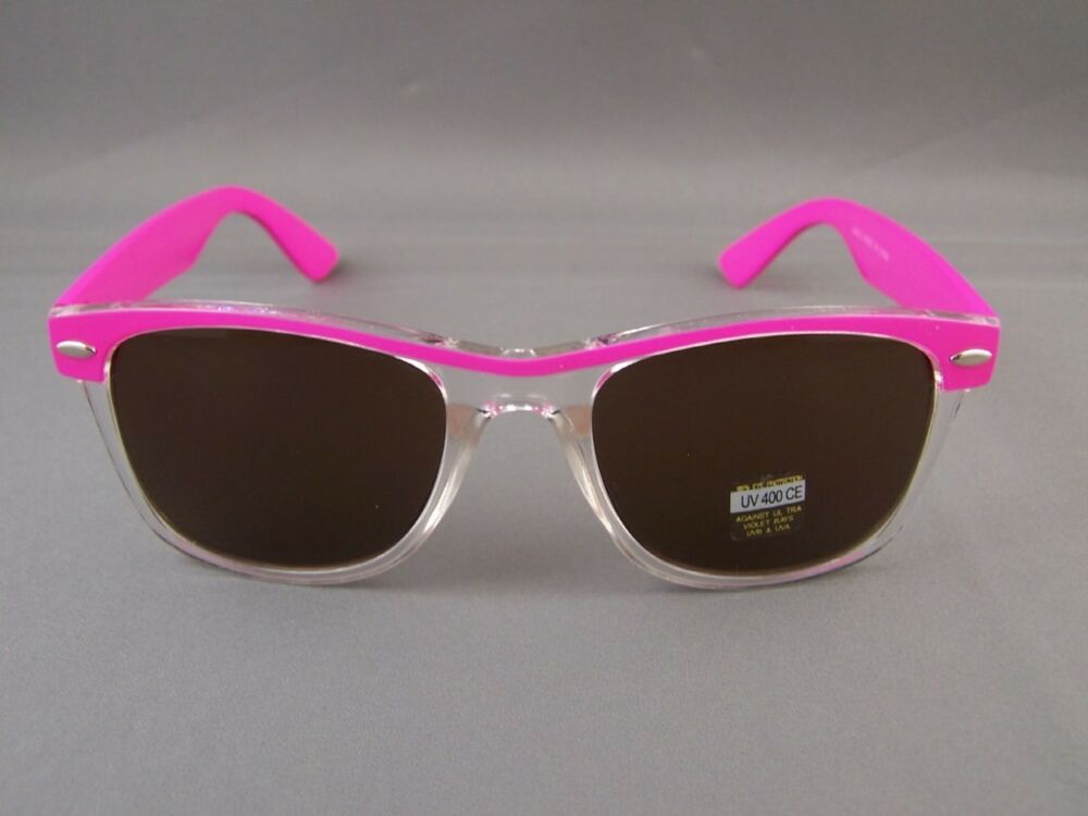 d5ed8995331 Pink Clear 2tone frame risky business 80s classic style sunglasses