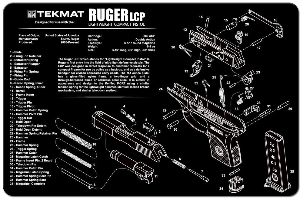 Tekmat Gun Cleaning Mat For Ruger Lcp 11 Quot X17 Quot W Parts