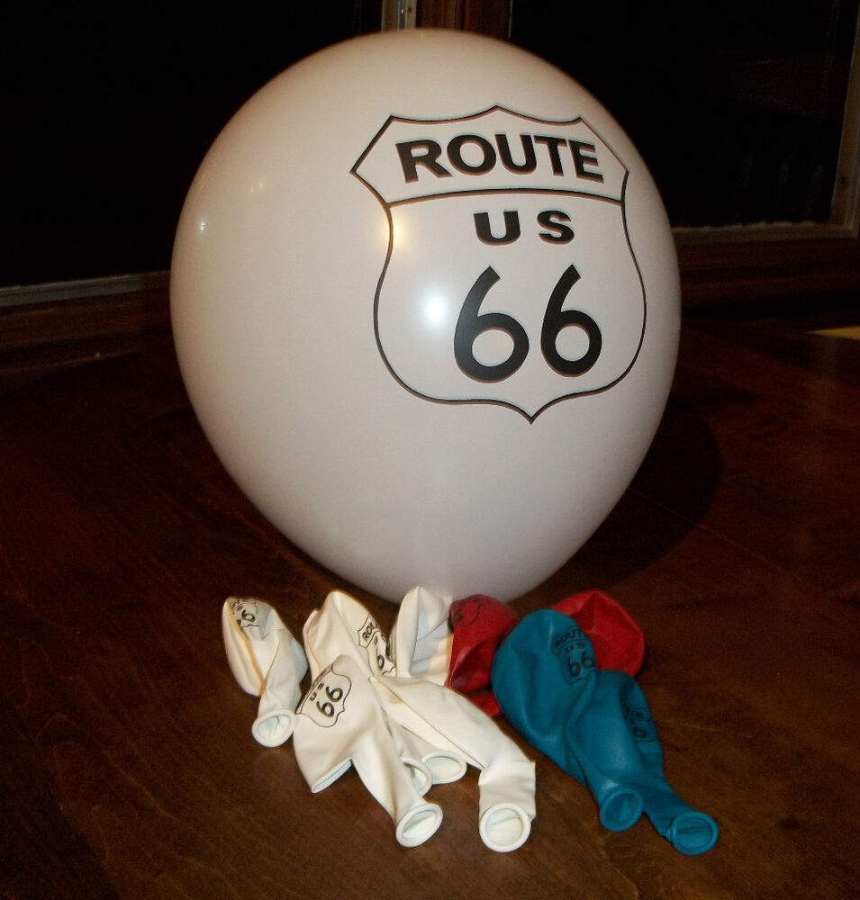 set of twenty route 66 12 inch latex balloons specialty item party decorations ebay. Black Bedroom Furniture Sets. Home Design Ideas