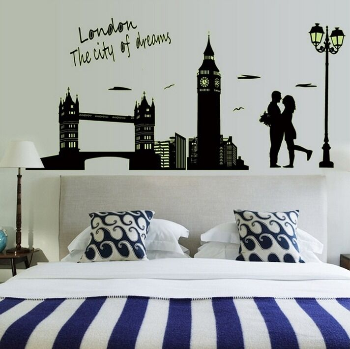 London city bridge big ben flourescent wall decal sticker for Home decorations london