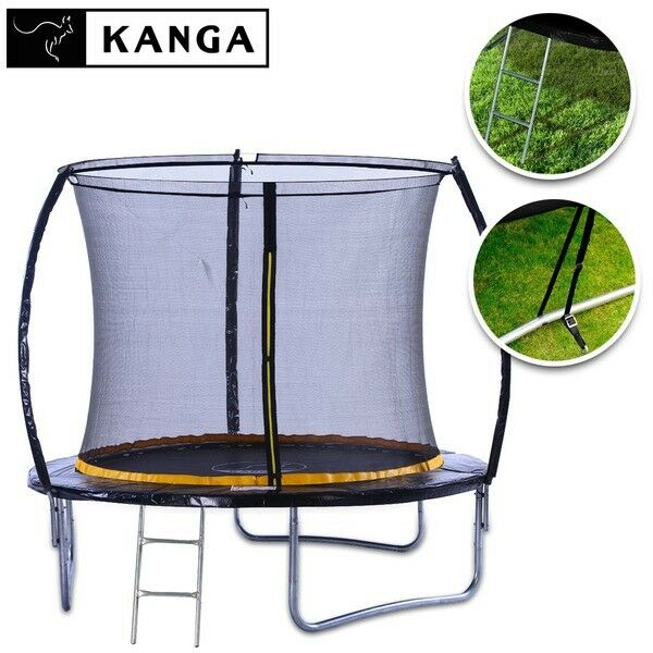KANGA 8ft Trampoline With Enclosure, Ladder, Winter Cover