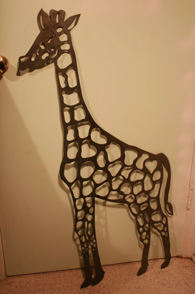 Massive 35 tall giraffe plasma cut metal wall art hanging for Home decorations on ebay