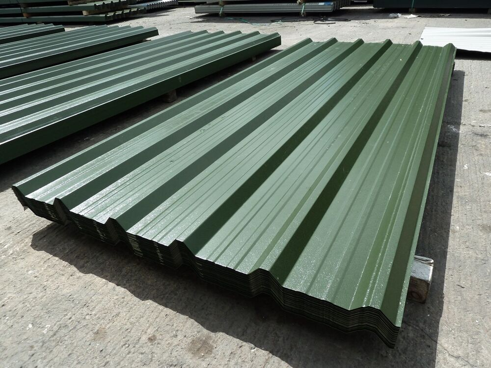 Aluminium Roofing Sheet : Roofing sheets box profile juniper green pvc coated metal