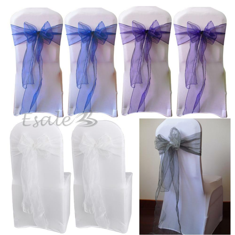 25x Organza Chair Cover Sashes Bow for Wedding Party