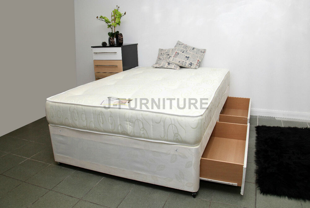 4ft6 double divan bed storage and 25cm deep orthopaedic for Double divan bed with slide storage