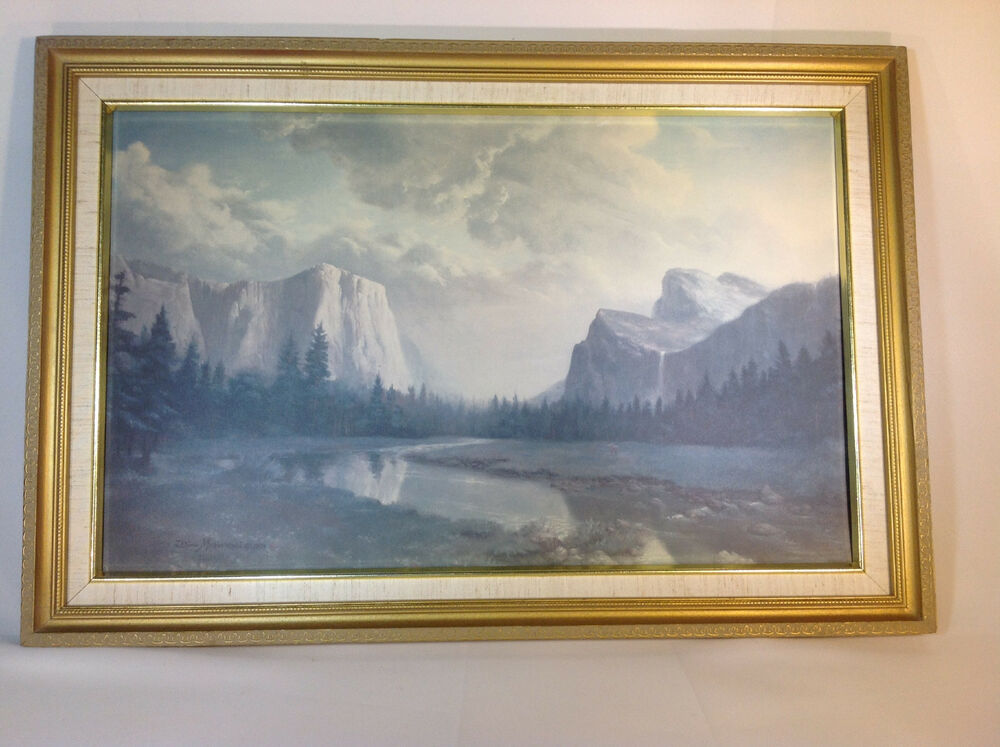 Vintage Old Print Of Yosemite Valley By Artist Dino