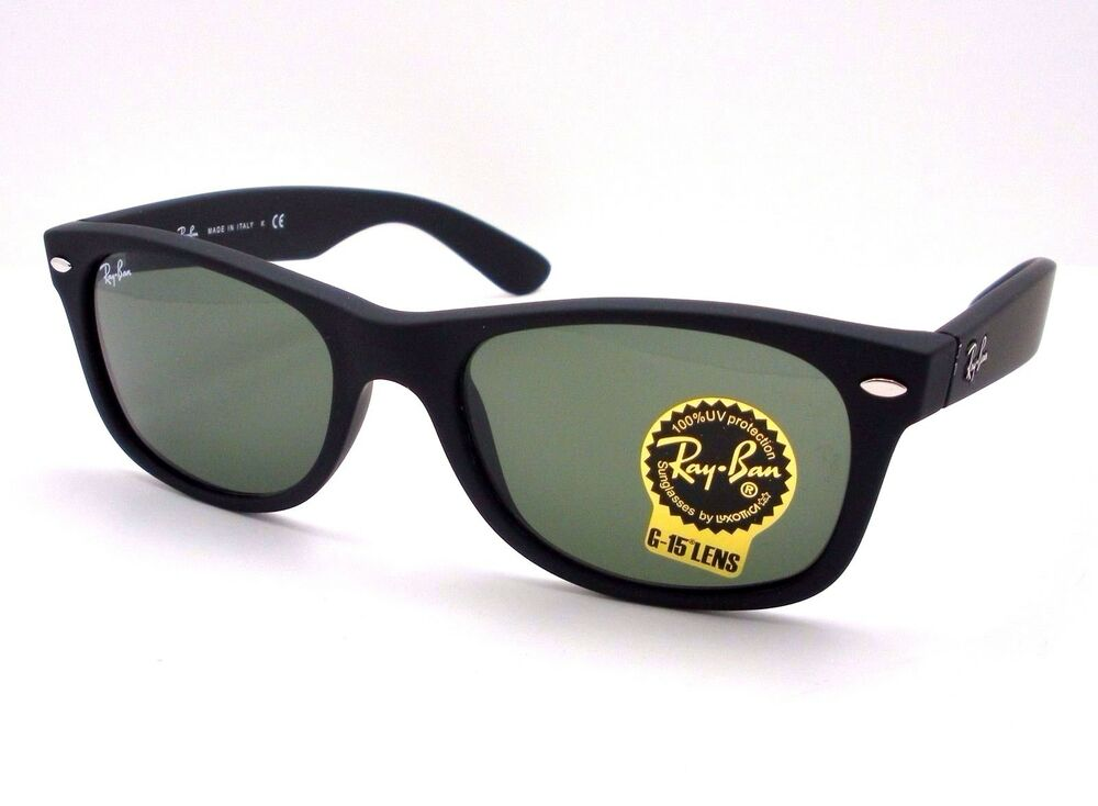 black ray ban wayfarer sunglasses  Ray Ban New Wayfarer 2132 622 Matte Black Rubber Authentic Buyer ...