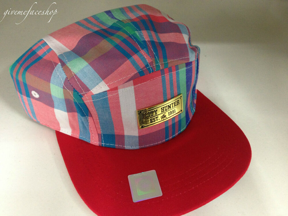 f819dcc78fd 5 panel red check snapback caps