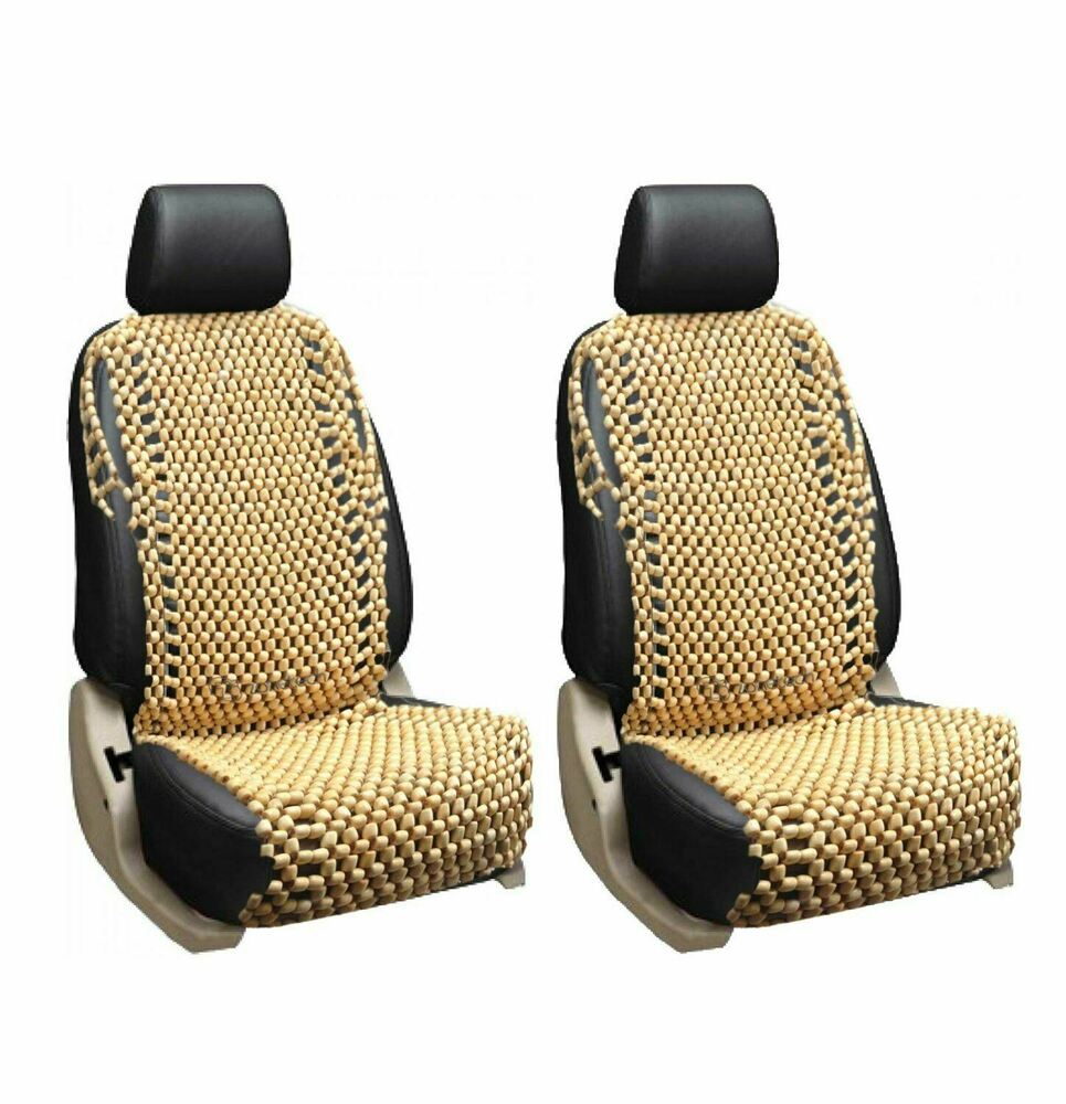 Zone Tech 2x Natural Wood Wooden Beaded Seat Cover Massage