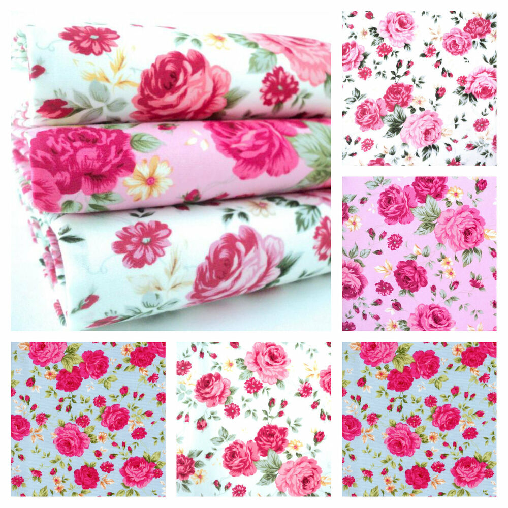 josephine rose 100 cotton fabric floral roses shabby vintage chic ebay. Black Bedroom Furniture Sets. Home Design Ideas