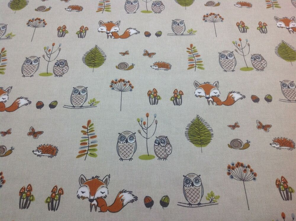 Fryett s cotton woodland fox fabric for curtain upholstery for Fox print fabric